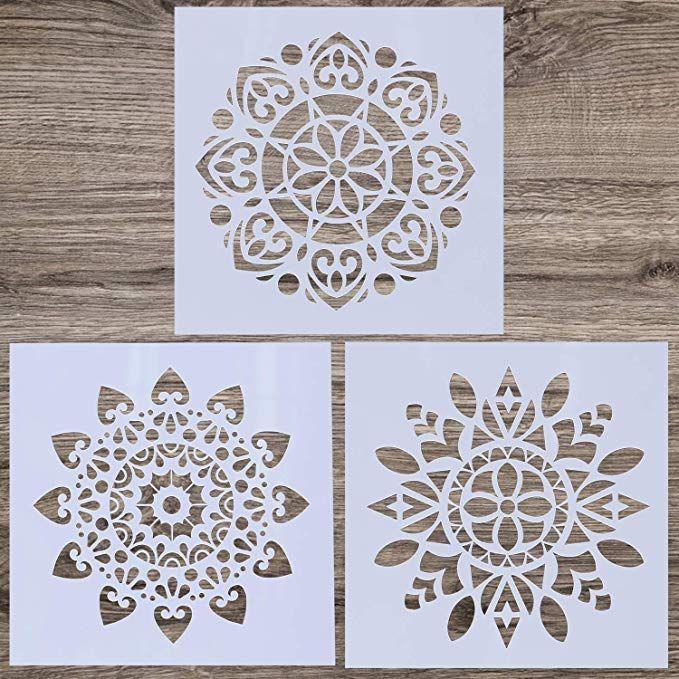 LOCOLO - Set di 3 stencil riutilizzabili con mandala, 30,5 x ...