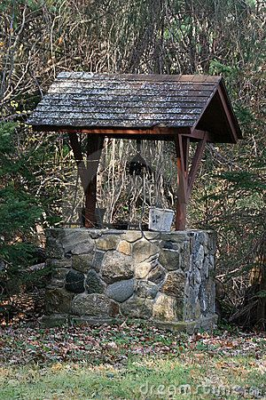 A wishing well is a place where you toss a coin (another symbol of good luck) and make a wish.