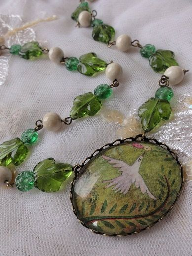 Art Necklace - White Bird Flying in the Forest - painting by Celeste Goulding. $45.00, via Etsy.