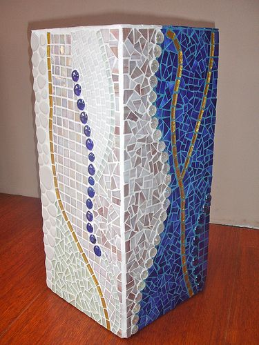 Tall blue and white glass mosaic plant pot | Flickr - Photo Sharing!