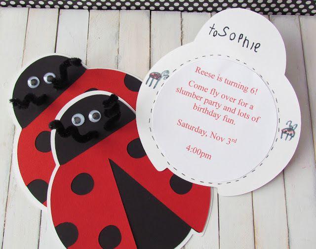 Invitations at a Ladybug Party #ladybug #partyinvites
