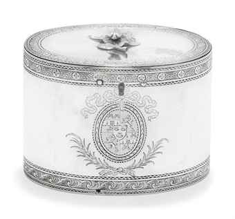 A GEORGE III SILVER TEA CADDY MARK OF LEWIS PANTIN (II), LONDON, 1773 Oval with bright-engraved bands of rosettes and laurel swags or foliate scrolls, all on linear grounds, finial modelled as a fly atop a flower, engraved coat of arms to front in oval ribbon-tied reserve with foliate spray beneath, reverse with crest within buckle and strap cartouche