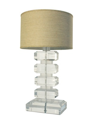 Lucite Lamp by Serge de Troyer Collection on Gilt Home