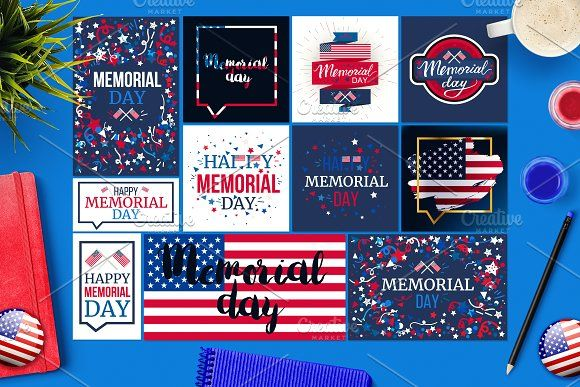 Memorial Day Banners by barsrsind on @creativemarket