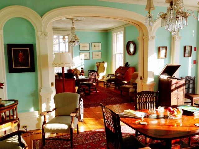 Our parlour rooms full of antiques and character, wall colour is Maritime Blue - Benjamin Moore