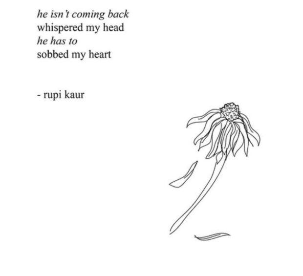 """'He isn't coming back,' whispered my head. 'He has to,' sobbed my heart."" — Rupi Kaur"
