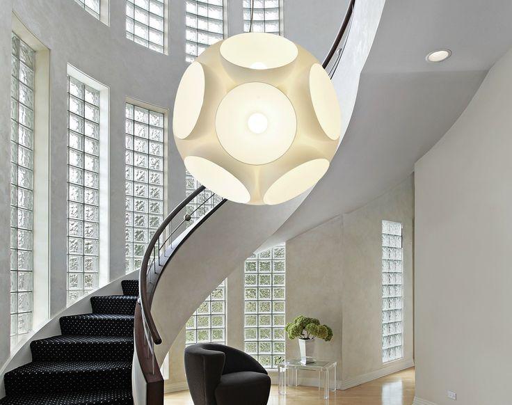 Lampada a sospensione in vetro: struttura in metallo verniciato bianco. Calotte in vetro bianco lucido, argento/bianco, oro rosa/bianco.