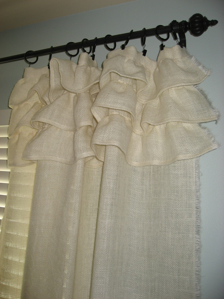Cream burlap ruffled curtain | Guest bedroom | Pinterest ...