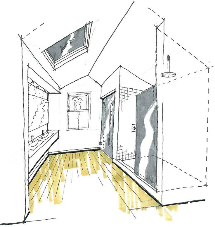 sketch of a bathroom renovation