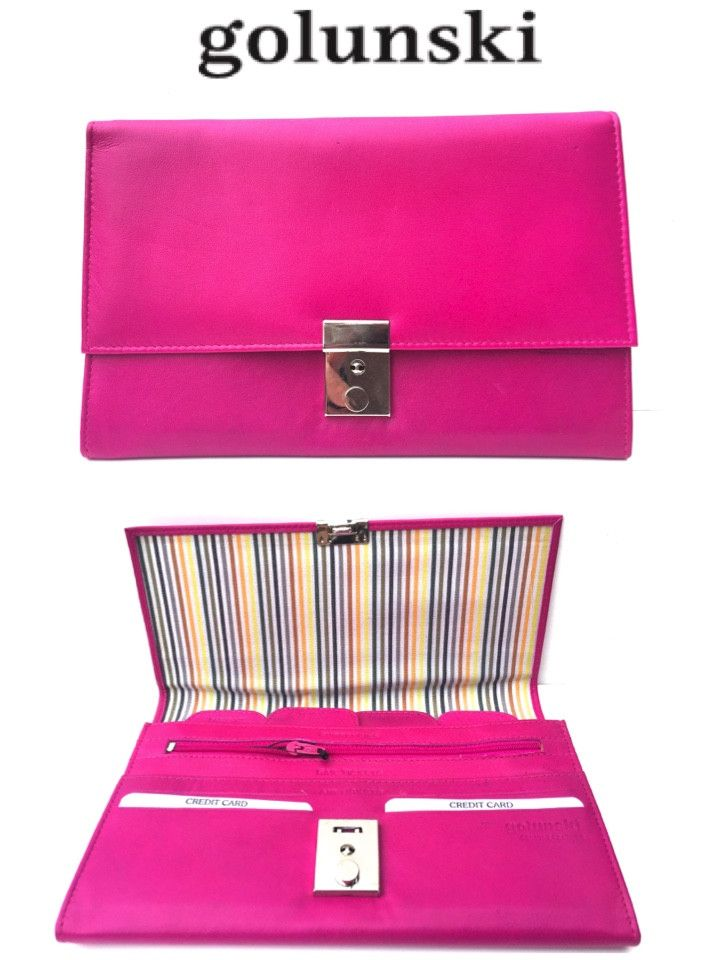 Style 1004 Lockable Leather Travel Organiser Wallet Document Holder By Golunski In Pink