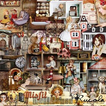 Misfit Dollhouse by Rucola Designs @ Mischief Circus. A digital image kit for your art, mixed media, collage, ATCS, photo manipulation and scrapbooking.