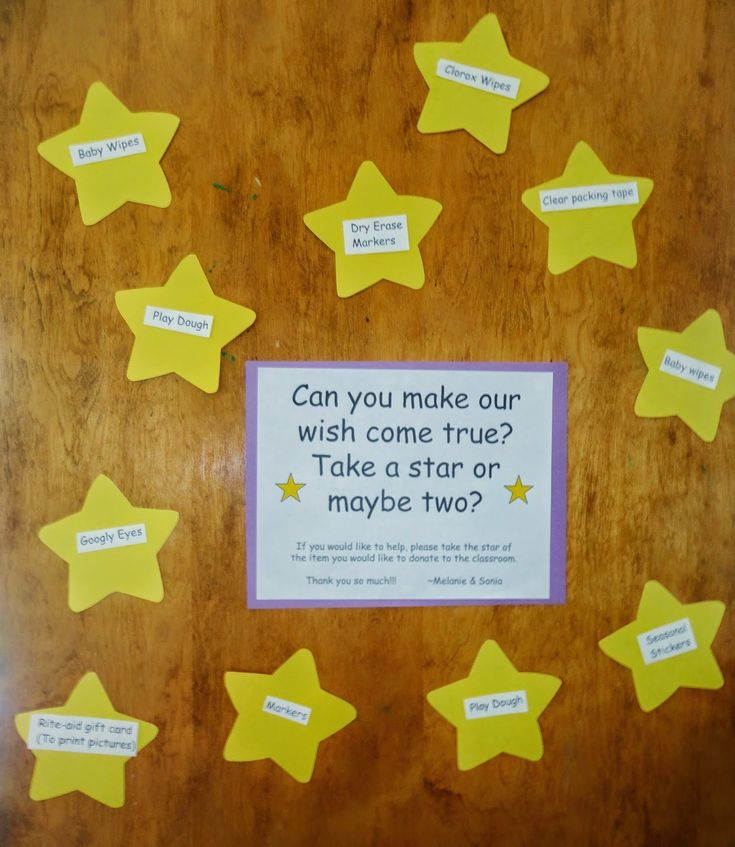 Can you make our wish come true? Take a star or maybe two? Cute way to ask for classroom donations.