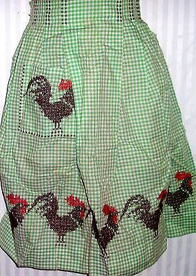 Vintage Green Checkered Cross Stitch Rooster Half Apron