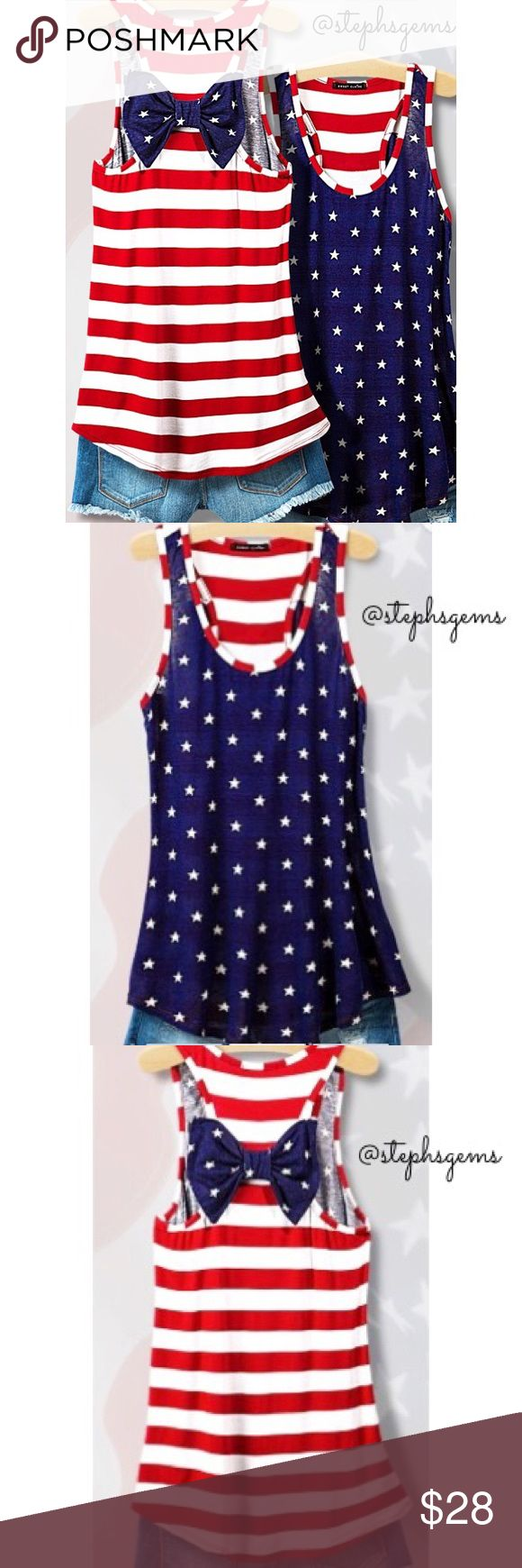 4th of july bow back tank top