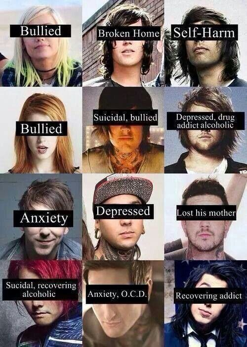 Jenna McDougall, Kellin Quinn, Vic Fuentes, Hayley Williams, Oli Sykes, Danny Worsnop, Alex Gaskarth, Tony Perry, Austin Carlile, Gerard Way, Mitch Lucker These are the people I love and idolize <3 (Except that asshole Ronnie Radke, can't stand him)