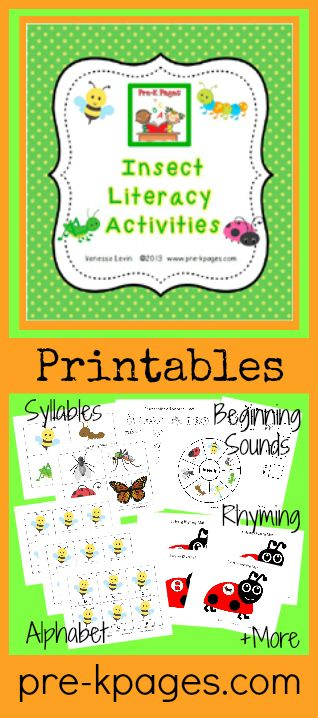 Insect Theme Literacy Printables for Preschool and Kindergarten (Alphabet, Rhyming, Syllables, Concepts of Print...)