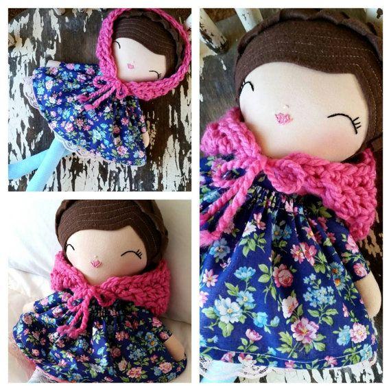 Vintage Style Heirloom Quality Rag Doll, SpunCandy Handmade Doll, Brunette Cloth Doll, Vintage Inspired Doll, Pink Scarf, OOAK Doll   https://www.etsy.com/listing/244855199/vintage-style-heirloom-quality-rag-doll