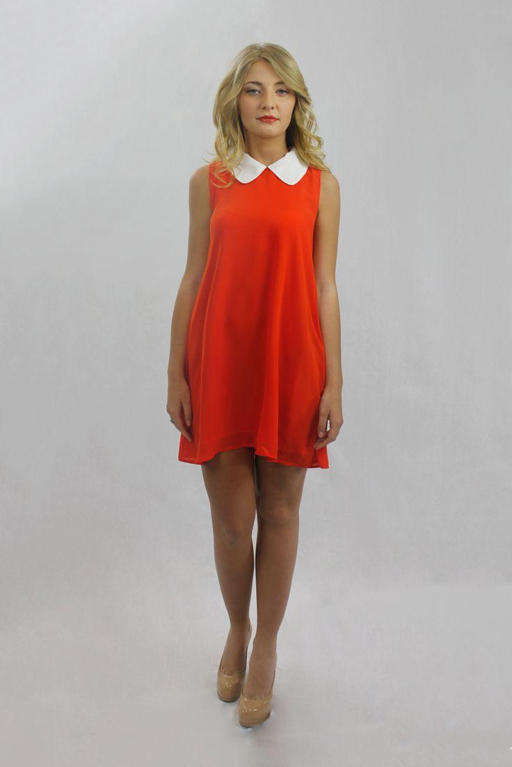 This is what I like to call, retro chic! mishpish.com #retrochic #retrodress #orangedress #orange #collardress #sleevelessdress