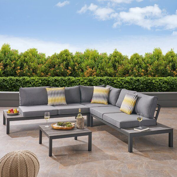 This Candance 4 Piece Sectional Seating Group With Cushions Rust Proof Sectional Is A Perfect Outdoor Sofa Sets Outdoor Sectional Seating Outdoor Seating Set