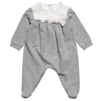 IL GUFO Girls Grey Jersey Babygrow With Bow