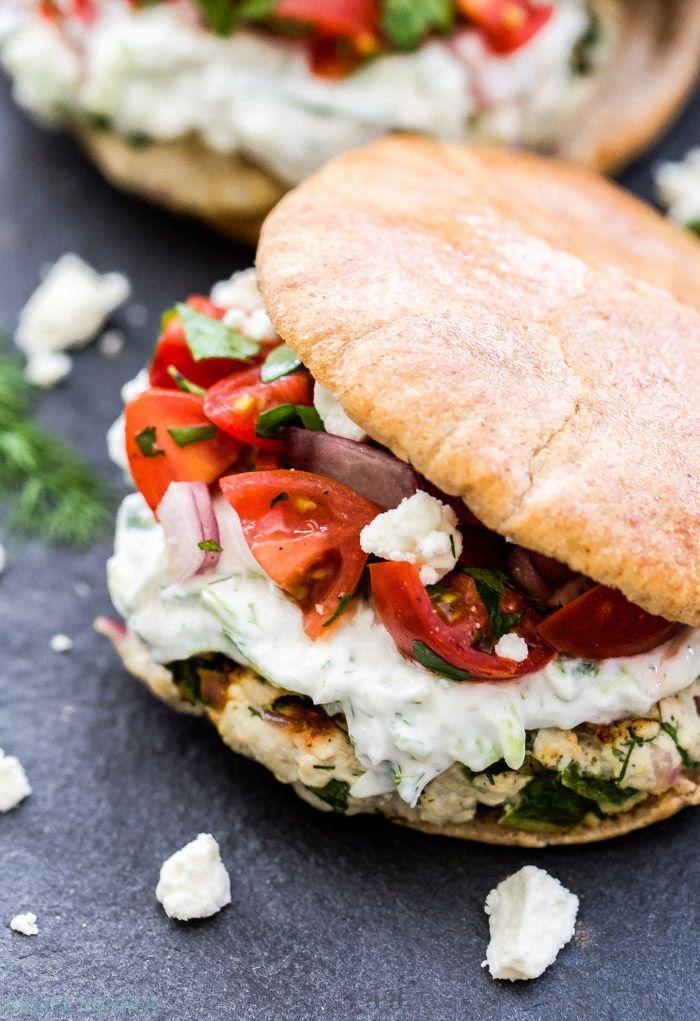 greek turkey burgers with tzatziki sauce and greek tomato salad