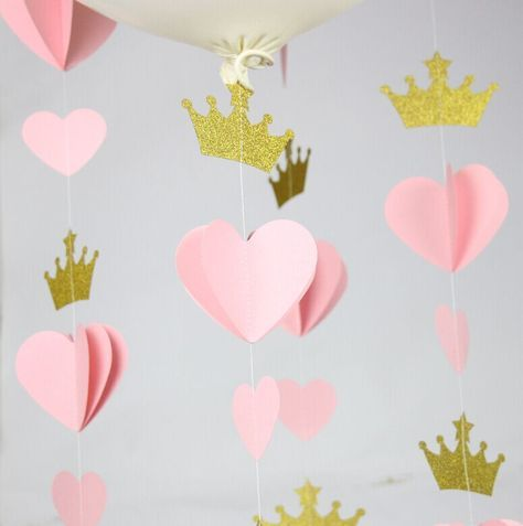 (4 garland/lot) Crown and Heart Garland, Gold Pink Birthday Party decoration…