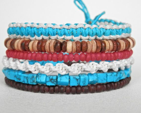 Turquoise wood and macrame memory wire wrap bracelet by Berjique, $20.00
