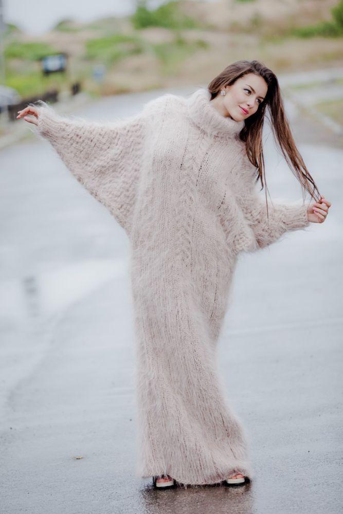 Custom Order T Neck Mohair Dress,Hand Knitted Dress,Maxi Turtleneck Sweater T62 #TiffyMohair #SweaterMaxiDress