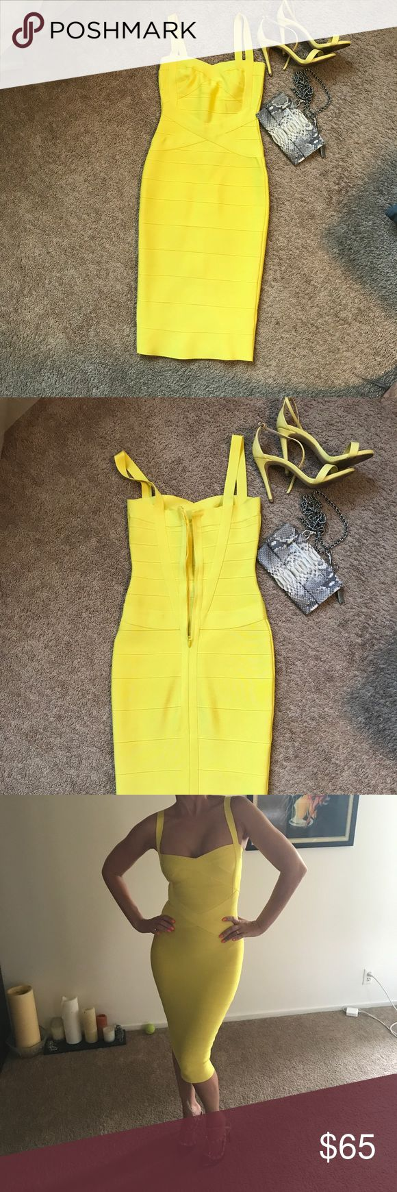 bandage dress yellow Sexy and daring, this bandage dress meets all your night-out style needs. This figure-flattering party dress is the perfect showstopper. Dresses Midi