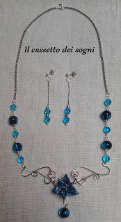 Parure blu / blue flower set