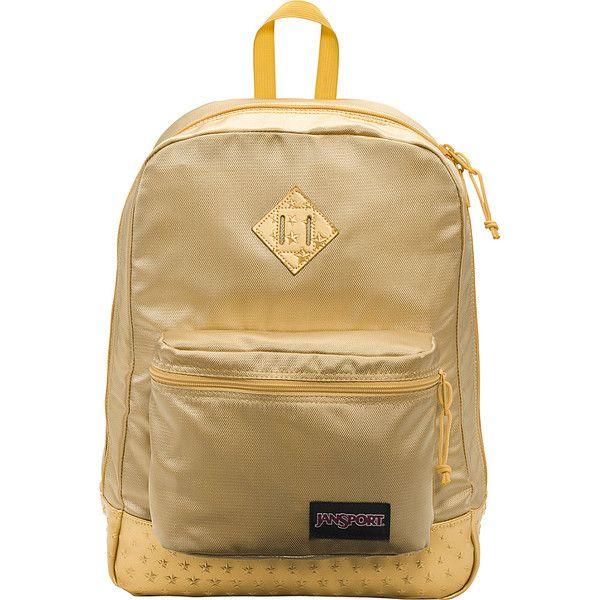 JanSport Super FX Series Backpack - Gold 3D Stars - School Backpacks (420 SEK) ❤ liked on Polyvore featuring bags, backpacks, metalic, padded backpack, jansport rucksack, utility backpack, gold backpack and backpack bags