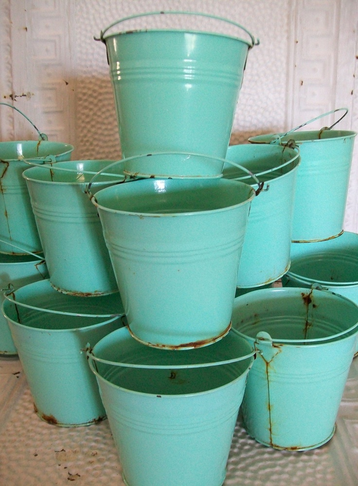 Pails-13 Vintage Farmhouse Rusty Metal Buckets-Teal-Aqua-Table Numbers-Tabletop…