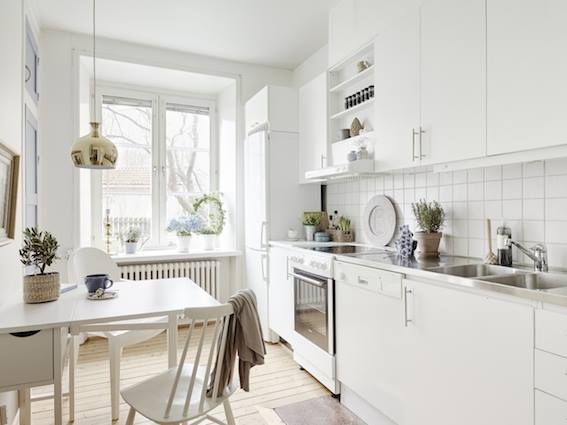 Small, white, lovely kitchen