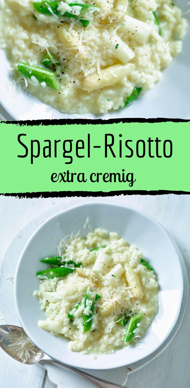 Einfaches Risotto-Rezept mit grünem und weißem Spargel