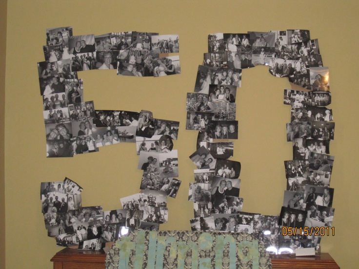 "Made this for my mother's 50th Birthday party. Large 5 & 0 made out of cardboard then cut into shapes. To other boards stating ""Turning 50 Has Never Been So Fun!"""