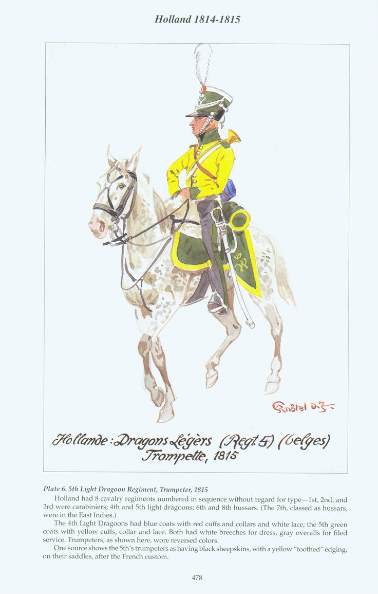 Holland: Plate 6. 5th Light Dragoon Regiment, Trumpeter, 1815