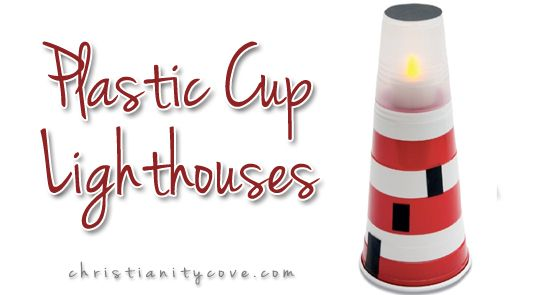 This tiny lighthouse craft makes a nice night-light; its soft glow is just bright enough to lead your child to the safe harbor of his bed. Its creation will also give you a chance to talk more about why lighthouses are such an important Christian symbol.
