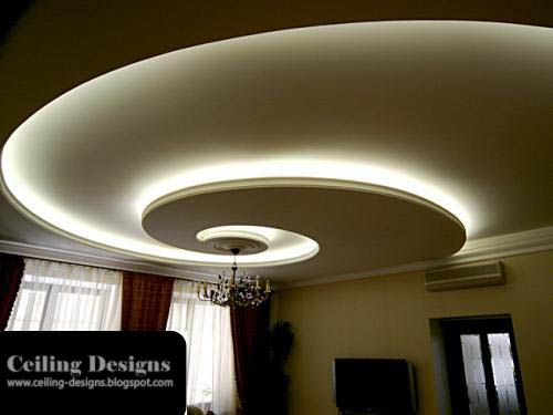 Mod Ceiling Designs With Hidden Lights Living Room.