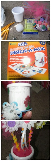 Had my daughter draw a picture & wrote happy bday to her friend. Put foam ball inside design a mug (michaels $1), surrounded w/ scrap tule, wrapped sharpened pencils w/ pipewire stuck them in foam ball & put handmade hair clips on wire. Hair tie was last min. She put it there lol flower clips were small dollartree flowers hotglued to alligator clips (sallies hair supplies) w/ buttons in the middle. Same concept w/ hair tie except on rubberband of course.