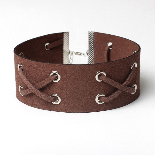 Hot Women Leather Choker Necklace Punk Gothic Vintage Wide Ribbon Leather Chocker Ladies Short Neckless Jewelry Anime Bijoux