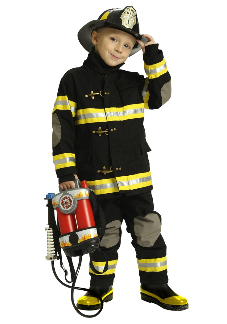 Boys Black Fireman Costume...my boy is already planning for next year. He wants me to sew this for him. Um yeah.