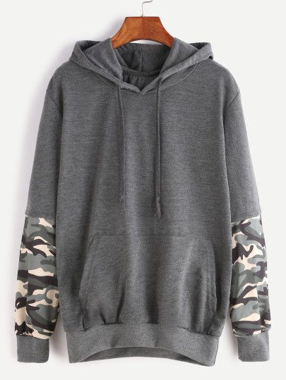 Dark Grey Hooded Contrast Camo Print Sleeve Pocket Sweatshirt