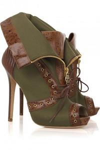 If I could actually wear heels without killing myself I'd wear these.Alexander Mcqueen Foldover Canvas Booties.