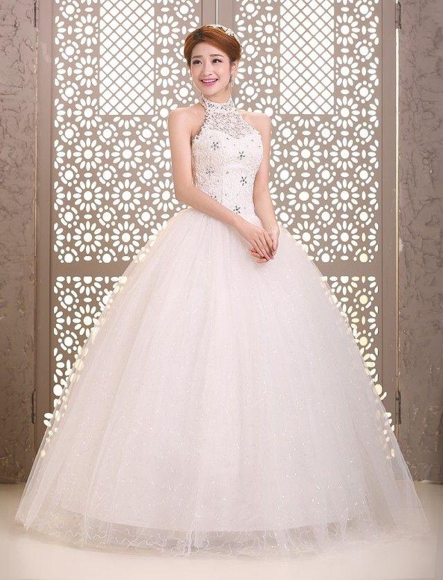 Lacing halter-neck wedding dress