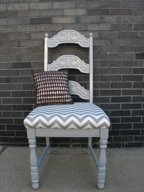 Grey And White Chevron Upholstered Chair