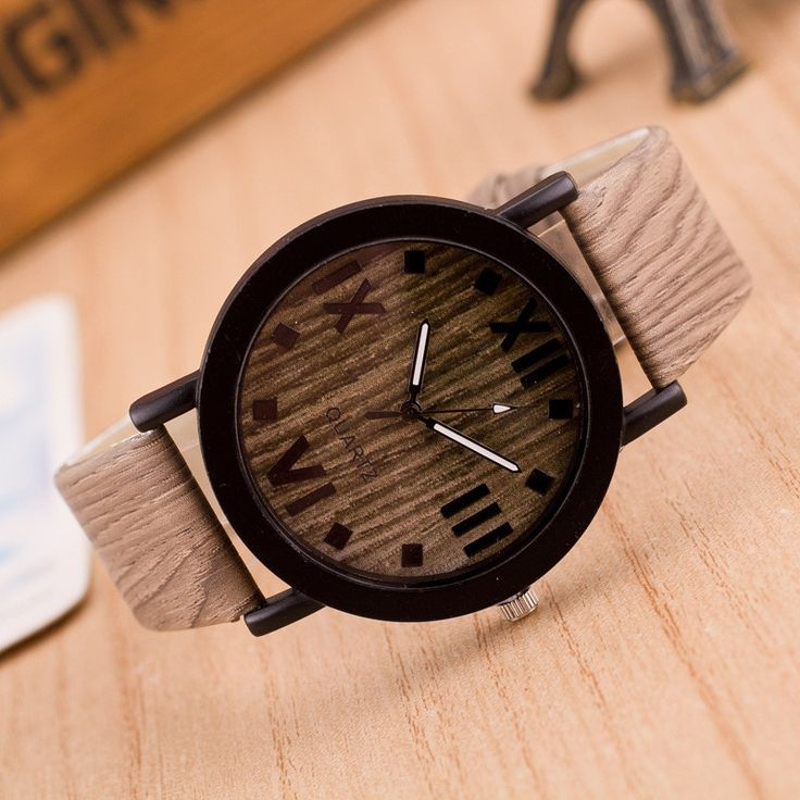 Retro Wood Grain Wristwatch Women Men's Casual Pu Leather Quartz-Watch Relogio Masculino Roman Numerals Dial Watches Men Clock