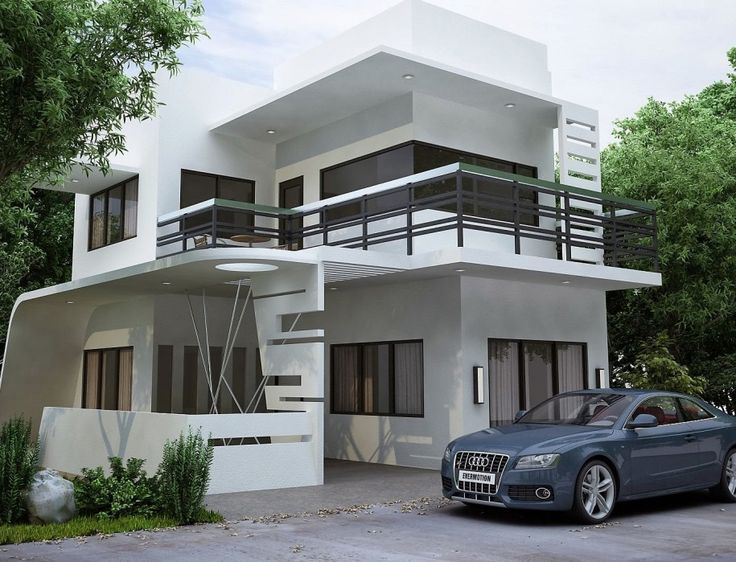 Wonderful Feels More Joy After Having Modern Home Designs : Excellent Modern White Home  Design With Two Level Floor Plus Balcony With Metal Fences Ide.