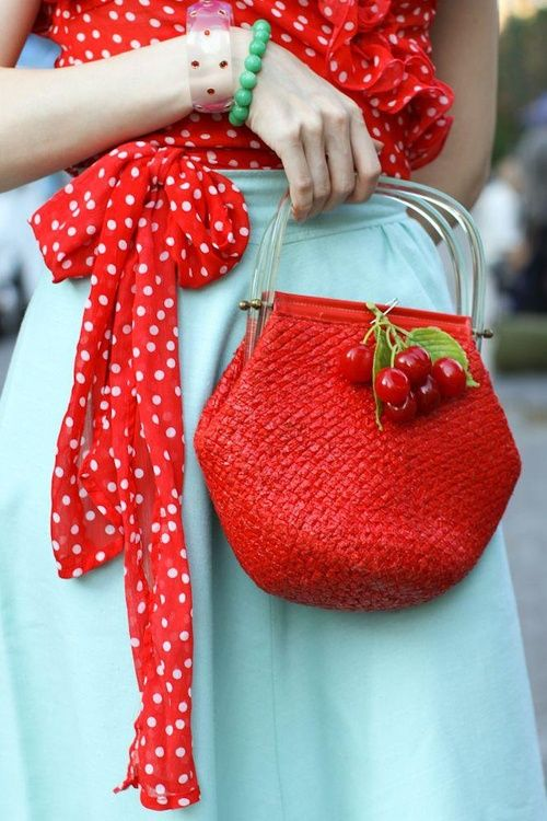 Love a turquoise skirt anyways but with red polka dots and sweet cherries on the purse--so cute!!