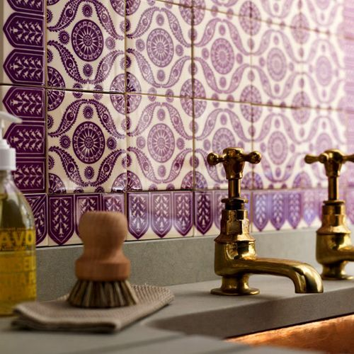 Such a pretty backsplash: Backsplash, Color, Back Splash, Purpletile, Brass Faucets, Purple Tile, Pretty Tile, Copper Sinks, Moroccan Tile