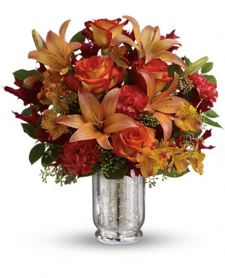 Teleflora's Fall Blush Bouquet - #FallFlowers in a mercury glass hurricane vase